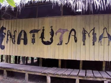 La Fundación intercomunitaria Natutama es una entidad que trabaja en relación del conocimiento cultural, ancestral y científico para un manejo social y participativo de los recursos de la biodiversidad y practicas sociales de la Amazonia Colombiana en la foto el centro de interpretación ubicado en puerto Nariño Amazonas.