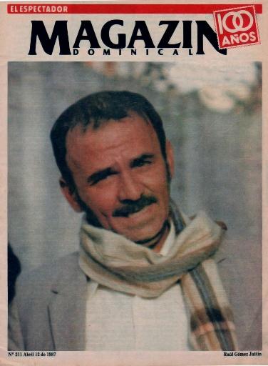 Gómez Jattin como portada prinicipal de la Revista Magazin Dominical del Espectador de Bogotá