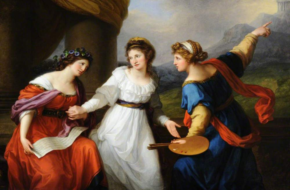 Kauffmann, Angelica, 1741-1807; Self Portrait of the Artist Hesitating between the Arts of Music and Painting